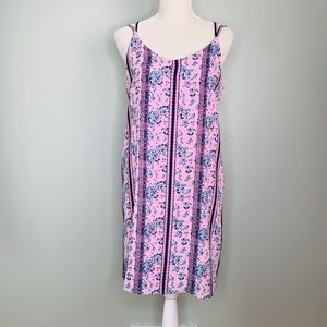 Pink Rose Dress Large Dusty Pink Floral Lined